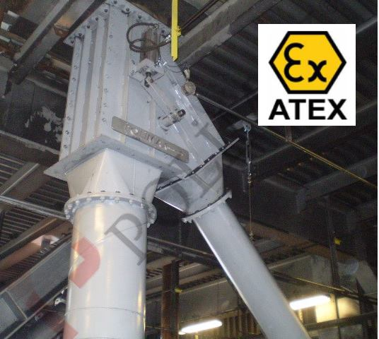Atex diverter valve for coal dust explosion protection