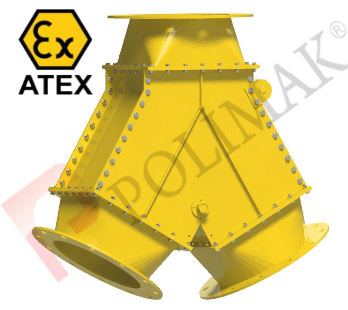 Atex diverter valves bulk material dust explosion protection certified ex-proof valves wo way diverters