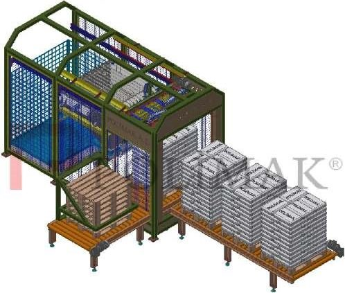 Automatic sack slitting opening discharging system