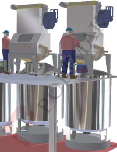Bag tipping station sack discharge dosing system for mixers