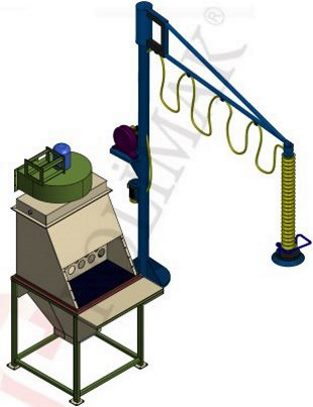 Bag manipulator of sack dump station bag vacuum lift system