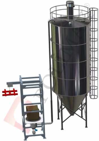 Big bag discharge station with pneumatic conveying system for silo filling