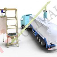 big bag unloading system and bulk tanker filling spouts