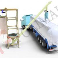 big bag unloading system and bulk tanker filling chutes