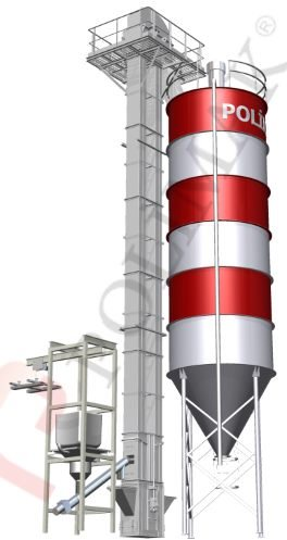 Bulk bag discharge system with screw feeder and bucket elevator for silo loading