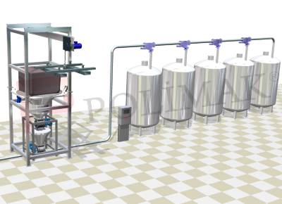 Bulk bag emptying and mixer feeding system with pneumatic conveying