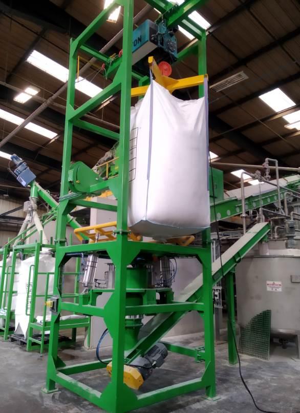 Big bag emptying screw conveyor bulk discharge
