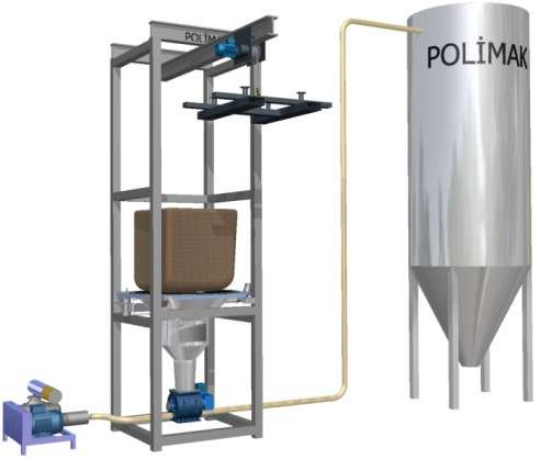 Big bag emptying silo filling system