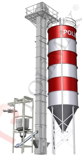 Bulk bag emptying system with screw feeder and bucket elevator for silo loading