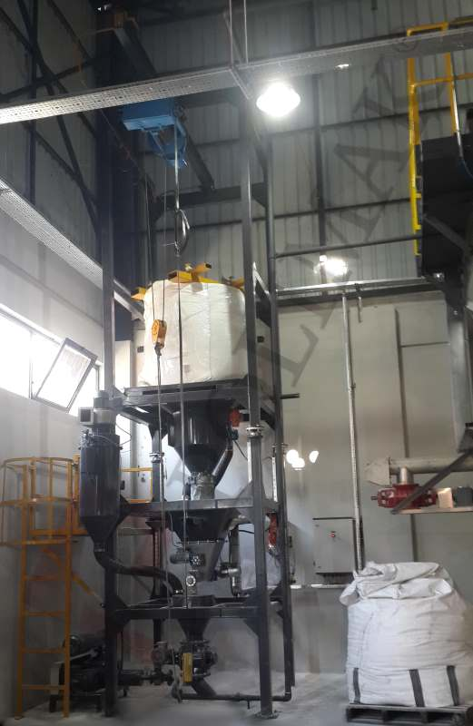 Big bag emptying station weighing system