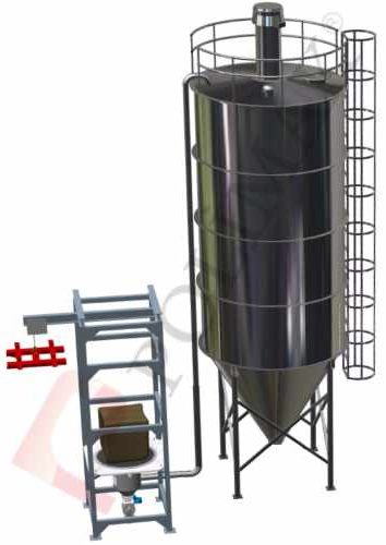 Big bag emptying station with pneumatic conveying system for silo filling