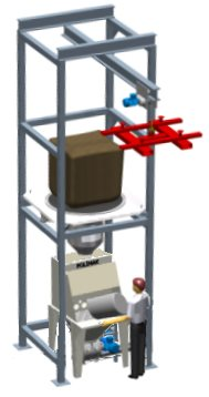 Sack discharge and big bag emptying system