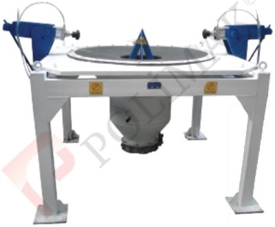 Bulk bag unloading system side compression pistons