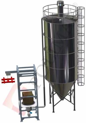 Big bag unloading station with pneumatic conveying system for silo filling