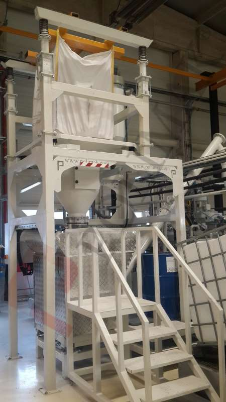 Bulk bag emptying system screw conveyor mixer filling