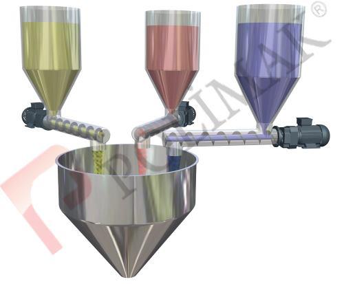 Powder dosing batching screw feeder system mixer loading bulk material process