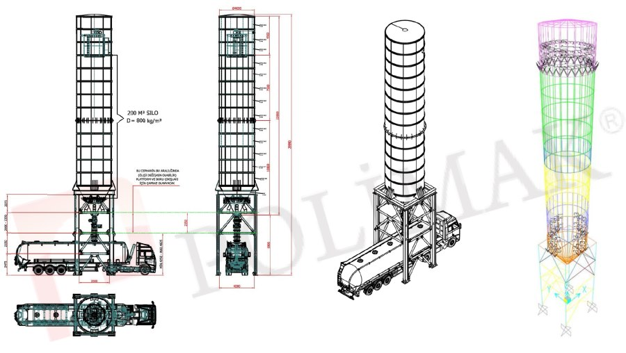 Bulk solid powder storage silo design FEA structural load calculation