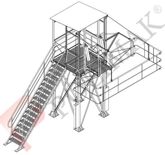 Bulk truck vehicle access platform for bulk solid loading by bellow