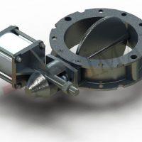 Butterfly valve pneumatic actuator bulk solid discharge