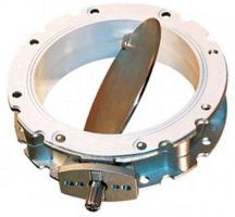 Sack dump and slitter system butterfly valve
