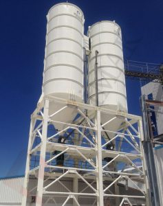 Calcium carbonate storage silos