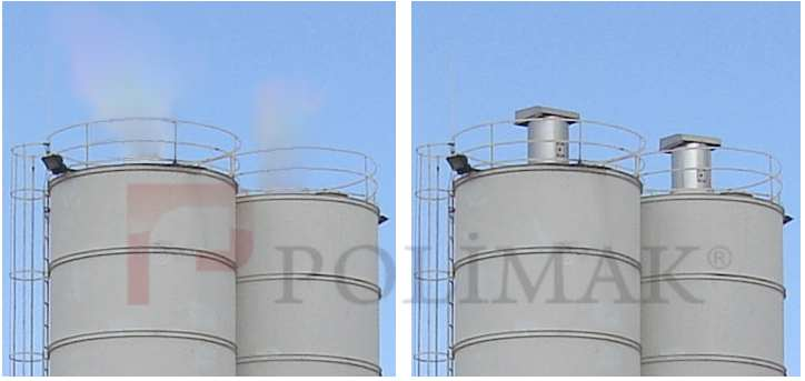 Dust emission from cement silo without jet filter and prevented emission with jet filter installed on the cement silo.
