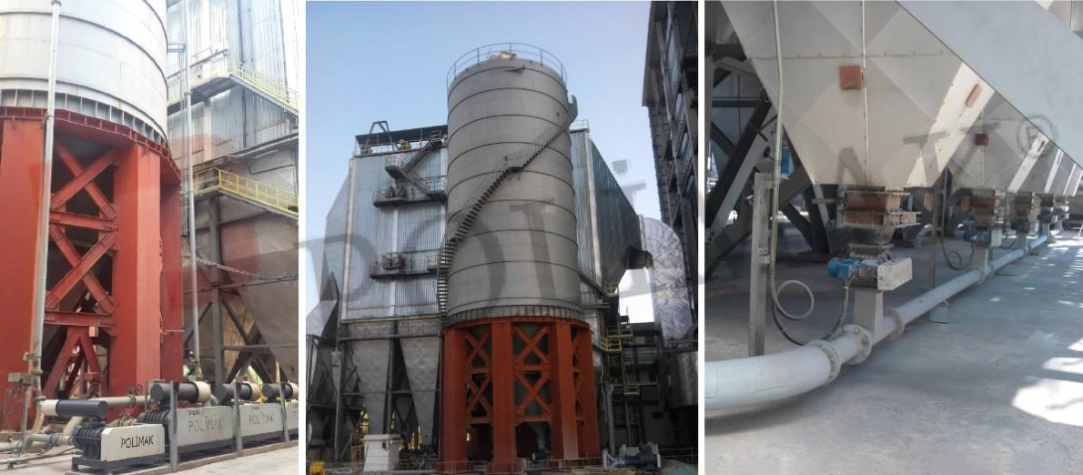 Fly ash handling systems coal fired power plant fly ash storage conveying disposal silo