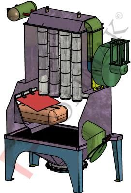 Sack tipping station dust collector glove box
