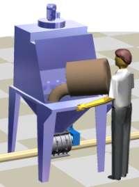Sack tipping cutting discharging system