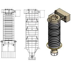 Toz malzeme dolum teleskopik şut modelleri silobas doldurma kamyon doldurma körükleri tipleri teleskobik borular