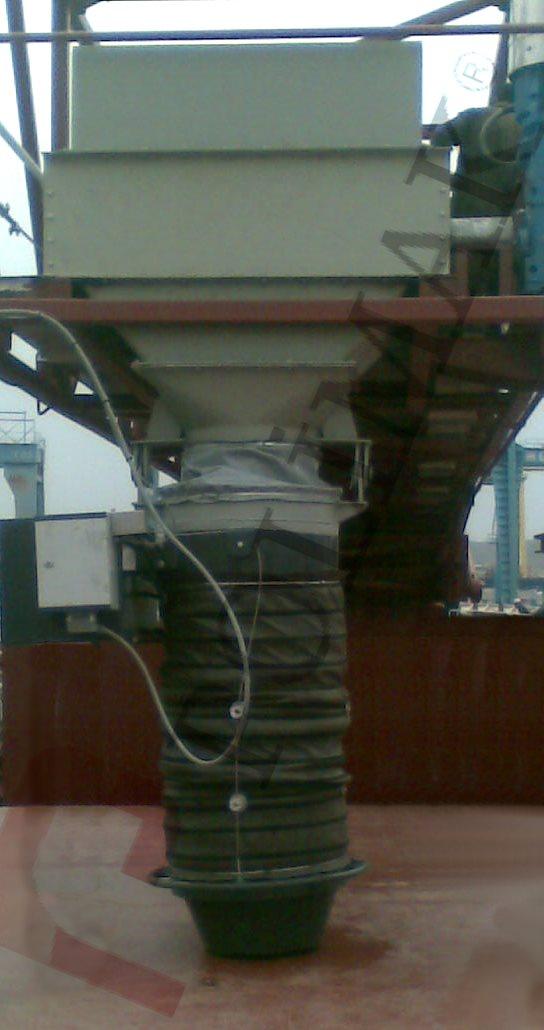 Dry bulk tanker ship loading bellow