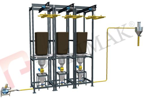 Big bag unloading stations with batching units and pneumatic conveying system