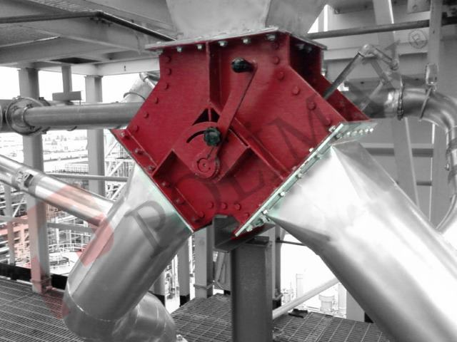 Flap type 2 way diverter valve gravity discharge application of bulk solids