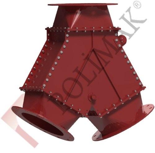 Flap type gravity diverter valve Bulk solid handling