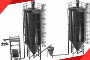 Bulk material storage filling discharging storage systems