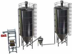 Bulk material storage filling discharging storage systems