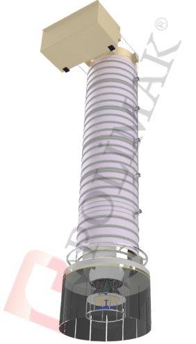 Silobas ve kamyon dolum teleskopik şut çift fonksiyonlu körükler