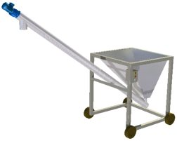 Mobile screw conveyor and hopper assembly