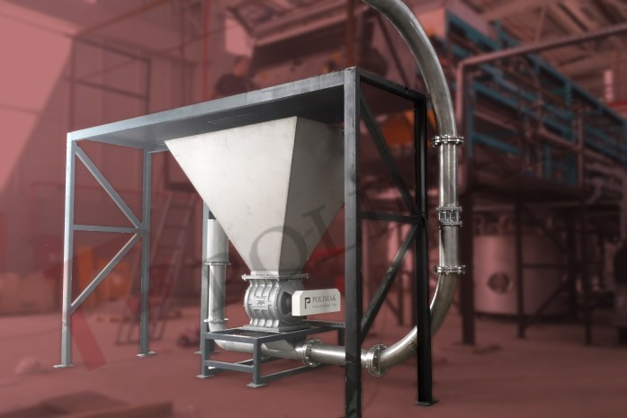Bulk powder load discharge hopper rotary valve and conveying systems