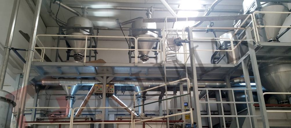 Food processing plant mixing batching dosing loading bulk food handling vacuum