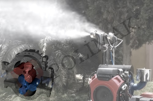 Roots blower ultra low volume ULV fogging mist application
