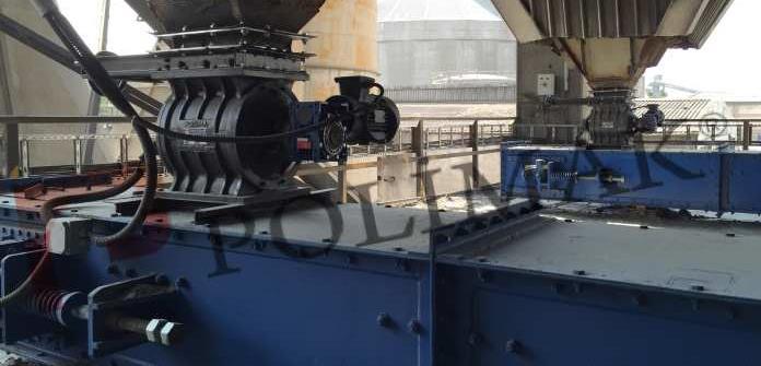 Rotary feeders dust discharge to chain conveyor