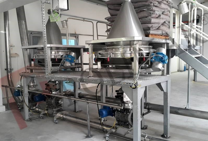 Sack tipping bag discharge station rotary valve and pneumatic conveying system for raw bulk food material
