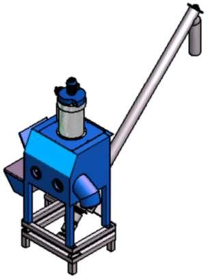 Bag tipping station screw feeder conveyor unit