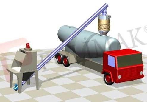 Sack opening and discharging station bulk tanker truck loading bellow telescopic chute