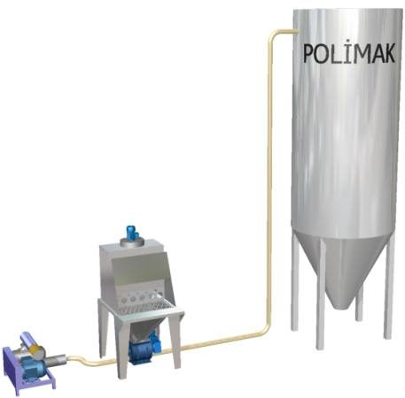 Silo loading pneumatic conveying system with sack dumper station