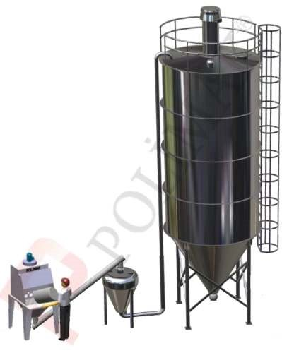 Dense phase pneumatic conveying system for silo filling sack discharging dumping station
