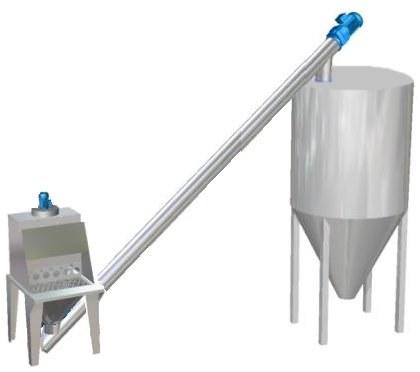 Sack opener station screw feeder silo filling system