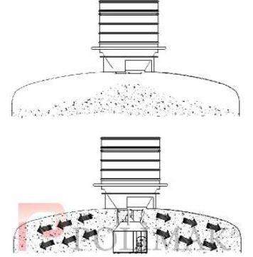 Tanker loading spout bulk solid powder spreader system of loading spout spout system