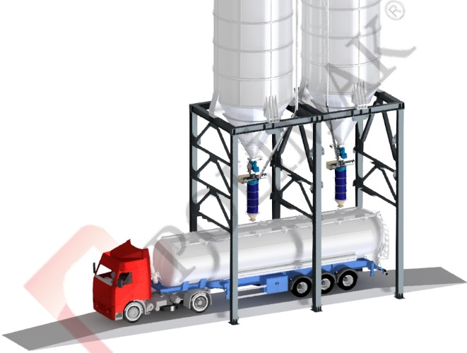 Truck weighing scales silo discharge bulk truck loading bellows